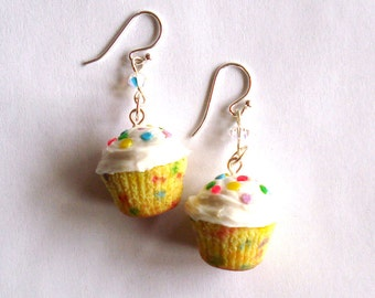 Rainbow Confetti Cupcake Earrings Birthday Cupcake Earrings Cupcake Jewelry Kawaii Jewelry - Polymer Clay Miniature Food Jewelry
