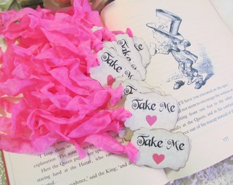Take Me Tags Party Favor w/ Hot Pink Hearts & ribbons -Set of 18 READY TO SHIP as shown- Alice in Wonderland Party Bridal Shower Birthday