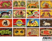 MATCHBOX MEDLEY III - Digital Printable Collage Sheet - Vintage Foreign Matchbox Labels with Colorful Animals, Dragons & Mythical Creatures