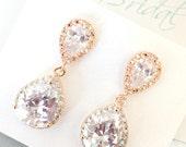 Rose Gold Bridal Earrings CZ Cubic Zirconia Wedding earrings, Clear Teardrop, Pink Gold E100C