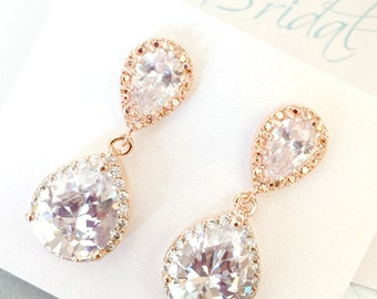 Rose Gold Bridal Earrings CZ Cubic Zirconia Wedding earrings, Clear Teardrop, Pink Gold E100C