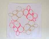 Flour Sack Tea Towel with Gold, Neon Pink Chain screen print