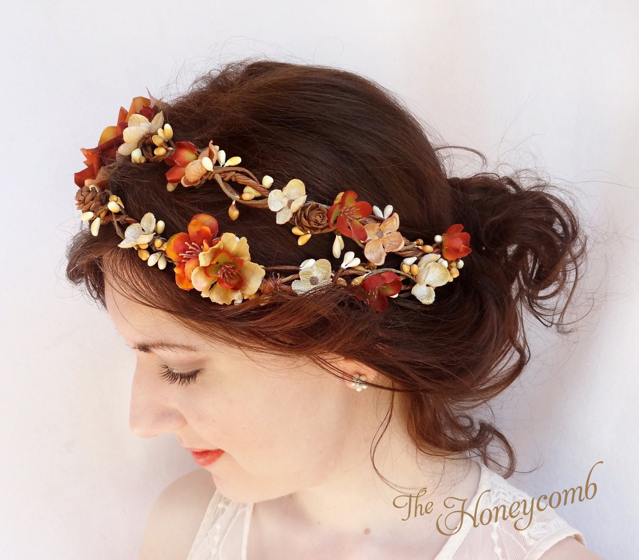 Fall Wedding Hairstyles With Flower Crown: Fall Wedding Headpiece Fall Flower Crown Rustic By
