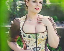 Steampunk Corset Jacket - Wedding Top - Renaissance Pirate Outfit - Quest Adventurer- Custom to your size