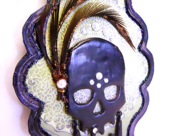 Gothic Flapper Skull assemblage wall art noir distressed Shabby Chic Acrylic with Mixed Media Frame and crystal Accent