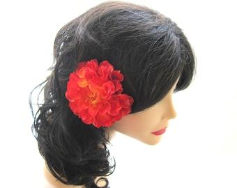 Poppy orange flower hair clip, large flower hair accessory, hair flower, bridal hair flower
