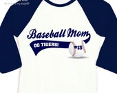 Baseball mom shirt - custom with name and team name personalized colorblock raglan mom baseball shirt
