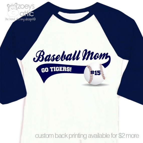 Baseball mom shirt custom with name and team name by for Custom raglan baseball shirt