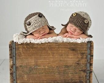 Twin Newborn Aviator Hats, Set of 2 Baby Boy Hats, Barley and Oatmeal, Twin Boy Hats, Newborn Photo Prop, Crochet Baby Hat,  Size: Newborn
