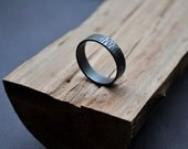 Men's Rustic Bark Wedding Band. Sterling Silver Ring. ( Oxidized/Oxidised, Black, Grey.) 6mm Wide Flat Band. Custom Size. Recycled. Eco.