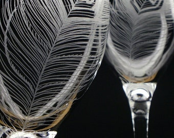 2 Wine Glasses 'Peacock Feathers' Hand Engraved Peacock Wedding Wine Glasses Featured in Wine Enthusiast Magazine December 2015