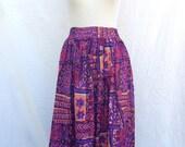 1980s Abstract Summer Skirt // Pink & Orange // Tribal Print