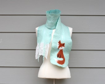 Fox Ruffle Scarf Handmade Nuno Felt Wool Silk Super Soft Fashion Accessory Unique Mint Green White Christmas Gift For Woman - READY TO SHIP
