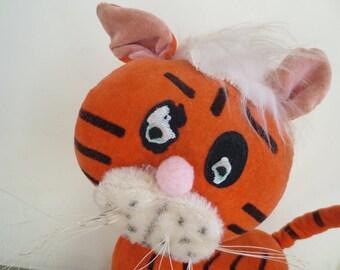 Vintage Tiger, Stuffed Tiger, Like Dream Pet,  Made in Japan, Like Dakin Tiger, Kitschy, Cute Kawaii Zakka,  Orange and Black, Kawaii Tiger