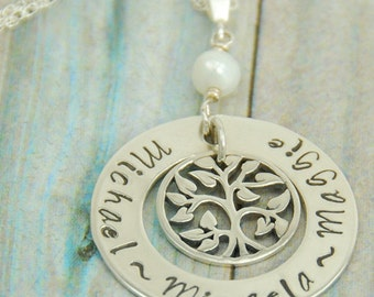 Gift from Grandkids, Grandmother Necklace, Personalized Family Tree Necklace, Hand Stamped Name Necklace, Grandma Jewelry