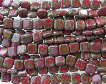 8mm Opaque Vintage Brick Picasso Czech Glass Flat Square Beads - Qty 25 (BW314)