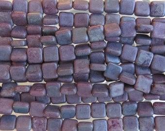 8mm Matte Opaque Purple Luster Czech Glass Flat Square Beads - Qty 25 (BW304)