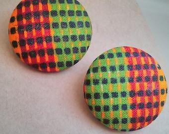 Dots African Kente Fabric Large Button Ear Studs