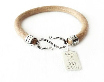 Round Leather Bracelet - Personalized Handstamped Sterling Silver Tag - Natural Bracelet - The Basics: 6mm Single Wrap