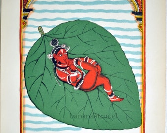 1938 Rare Back-to-Back Colour Lithograph from Indian Pantheon 1. Birth of Vishnu / Ardjama Saint of Prayer.