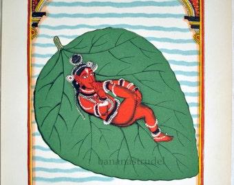 1938 Rare Back-to-Back Colour Lithograph from Indian Pantheon 1. Birth of Vishnu / Ardjama Saint of Prayer.