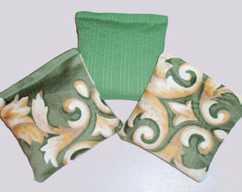 """Rice and Balsam Fir Sachets, 4x4"""" Set of 3 assorted Up-cycled Sage & Ivory Damask, Eco Friendly Dryer Sheets, Car Air Freshener Sachets"""