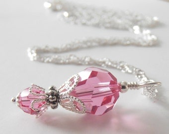 Rose Pink Crystal Pendant Necklace, Swarovski Crystal Bridesmaid Necklaces, Pink Wedding Jewelry, Sterling Silver Chain 16 18 or 20 inch