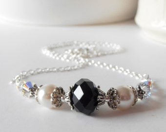 Gift for Women Black and Cream Beaded Necklace Crystal and Pearl Jewelry Ivory and Black Jewelry Gift Idea Black Crystal Necklace Under 50