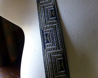 Jacquard Trim in Black, Silver & Gold for Tribal Fusion, Sashes, Headbands, Costume Design TR 206