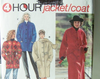 Simplicity 9221 Women's Sewing Pattern, Jacket or Coat in 2 Lengths with Scarf, 4 Hour Coat with Pockets ,SALE Size 6 - 16 Pattern Destash