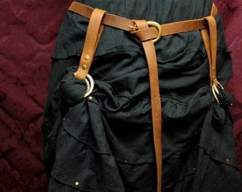 Steampunk Skirt HIKES & Long BELT SET- 2 skirt lifters chasers -antique brass, brown, gray or black Leather, Larp festival, RenFaire, Pirate