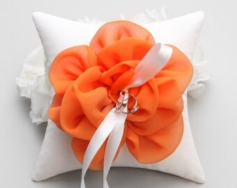 Orange ring pillow, wedding ring bearer, ring holder, flower ring pillow - Adina