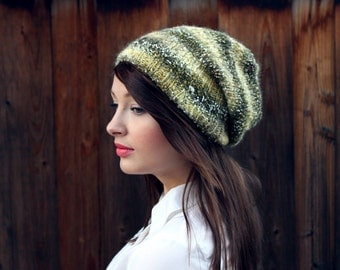 Olive Green Slouchy Knit Beanie // Heathered Textured Fall Olive Beanie // LIMITED EDITION // Fall Striped Beanie // Knit Slouchy Hat