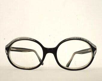 Stunning Black Rhinestone Oval Cat Eye Frame/ Prescription Quality Eyeglasses/ Mad Men Sunglasses/ Women