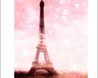 Paris Photography, Eiffel Tower Dreamy Hearts Print, Baby Girl Nursery Decor, Paris Pink Eiffel Tower Print, Paris Nursery Wall Art Prints