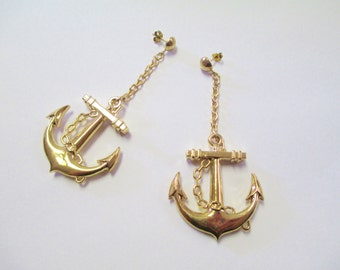 Vintage 80's Anchor Earrings DEADSTOCK