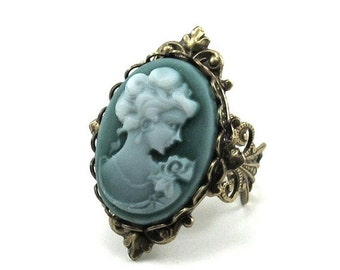 ON SALE Neo Victorian Cameo Ring in Emerald Green Wash with Antiqued Brass Filigree Band - By Ghostlove