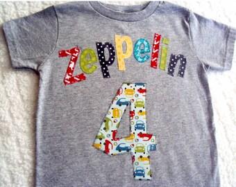 Transportation Birthday Shirt- Boys Birthday Shirt- Personalized Birthday Shirt- One Year Old Shirt, Two Shirt- Transportation Birthday