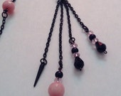 Black and Pink Faceted Beaded Long Crystal Necklace