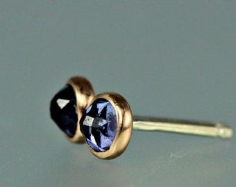 Tanzanite Earrings - Rose Cut Tanzanite Posts - Rose Cut Gem Studs - 14 KT Rose Gold Studs - Rose Cut Gem Rose Gold Posts - Tanzanite Studs