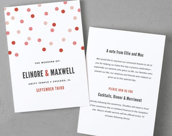 Printable Wedding Program Template | Instant DOWNLOAD | Confetti | Folded 5x7 | Editable Text | Word or Pages  | Easy DIY | Editable Colors
