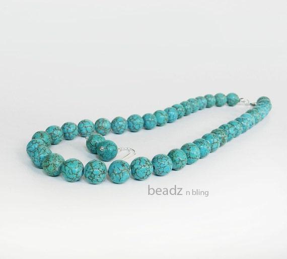 Turquoise Necklace Earrings Jewelry Set, Aqua Earrings and Necklace Set, Beach Wedding Jewelry