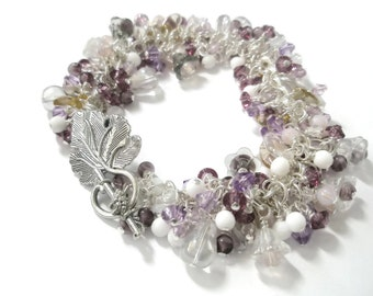 Beaded Bracelet Lilac Purple Silver Flowers Crystal Glass Vintage bead mix  Chunky Charm statement piece