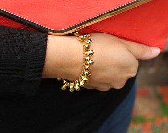 Gold Statement Spike, Teardrop Bracelet.