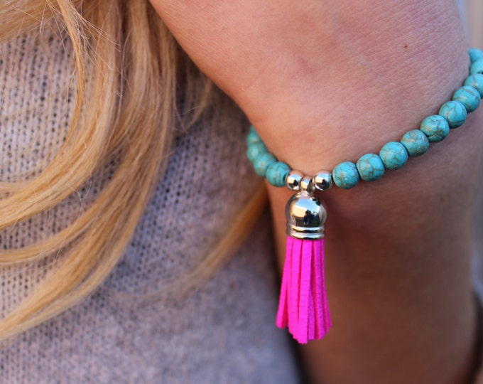 Beaded Turquoise and Pink Tassel Pop of Colour Bracelet.