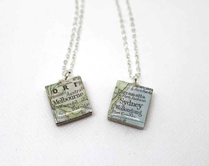 Melbourne or Sydney Scrabble Tile Necklace.
