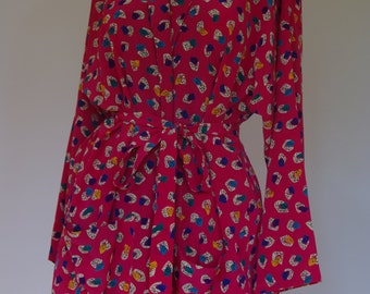 Stunning retro print 1980s cropped duster jacket
