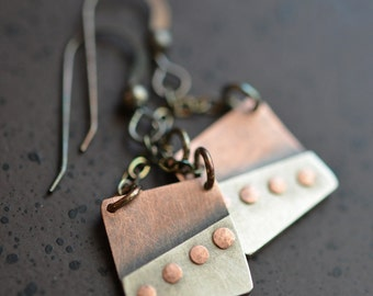 Riveted Modern Square Copper and Silver Earrings