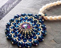 Beaded Pendant Tutorial, Lacy Medallion Rivoli and Seed Bead Pattern,  Step by Step with Detailed Diagrams, Principessa