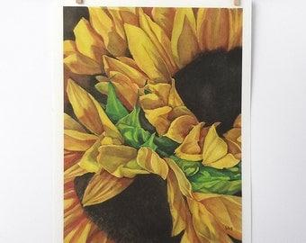 sunflower art print, watercolor flowers painting, yellow botanical wall art, 5x7